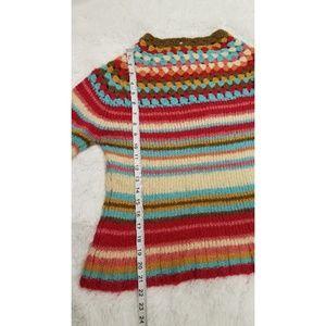 Relais Knitware Sweaters - Relais Knitware Crochet Knit Boho Stripe Sweater